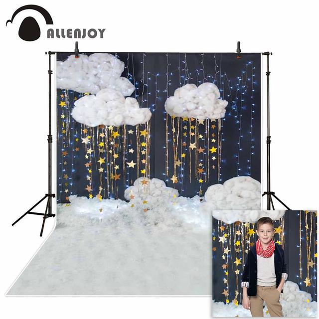 Allenjoy bébé douche photographie fond nuage étoile paillettes décoration toile de fond enfants fête nouveau né photo studio photocall