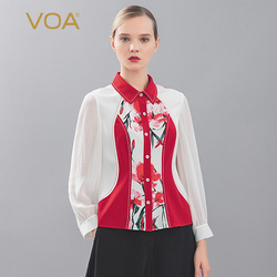 VOA Begonia flower 30mm heavy weight red and white contrast splicing Lapel bright line decoration long sleeve silk shirt B9257