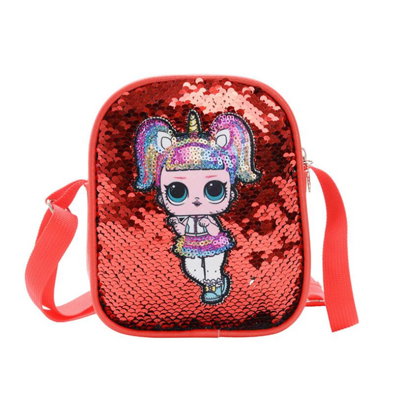 Newest LoL Dolls PU Sequin Look Girl Backpack Mobile Phone Bag Action Figure LoL Surprise Children Birthday Gifts