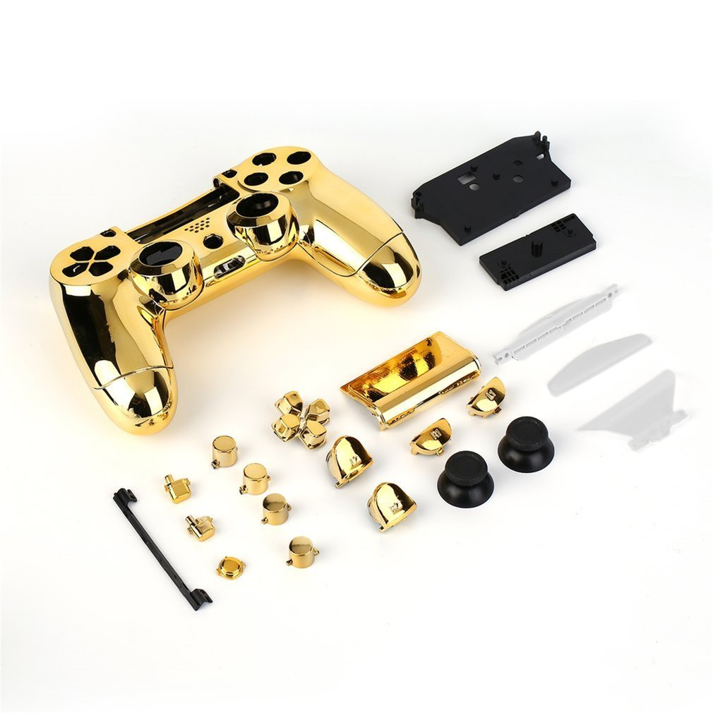 Full Housing Shell Case Skin Cover Button Set With Full Buttons Mod Kit Replacement For Playstation 4 PS4 Controller Gold.