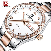 CARNIVAL New Men's Fashion Business Luminous Waterproof Calendar Stainless Steel Strap Automatic Mechanical Watches Reloj Hombre