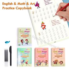 4 livros + caneta para crianças livros mágicos reutilizáveis caligrafia 3d copybooks inglês número lettering escrita prática copybook