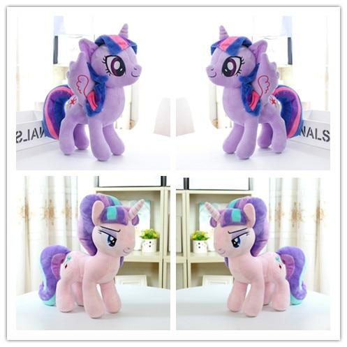 2Pcs/Set Unicorn Purple Princess Starlight Glimmer  Plush Horse Action Toy Figures 12