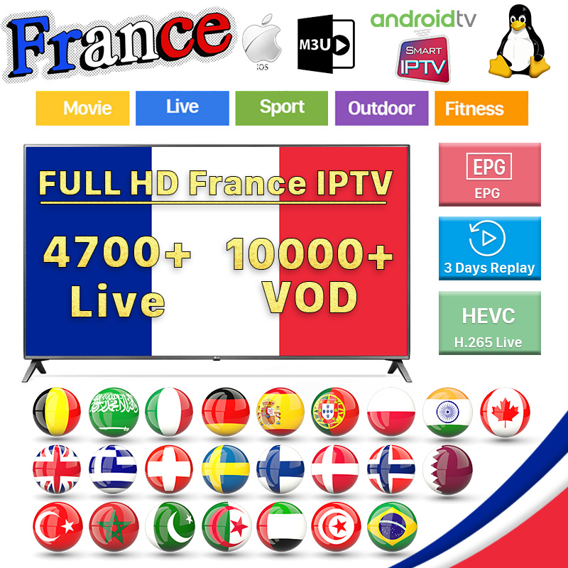 France IPTV Subscription Germany Arabic Sweden France Belgium Dutch Italia Portugal Spanish IPTV M3u Android MAG French IP TV