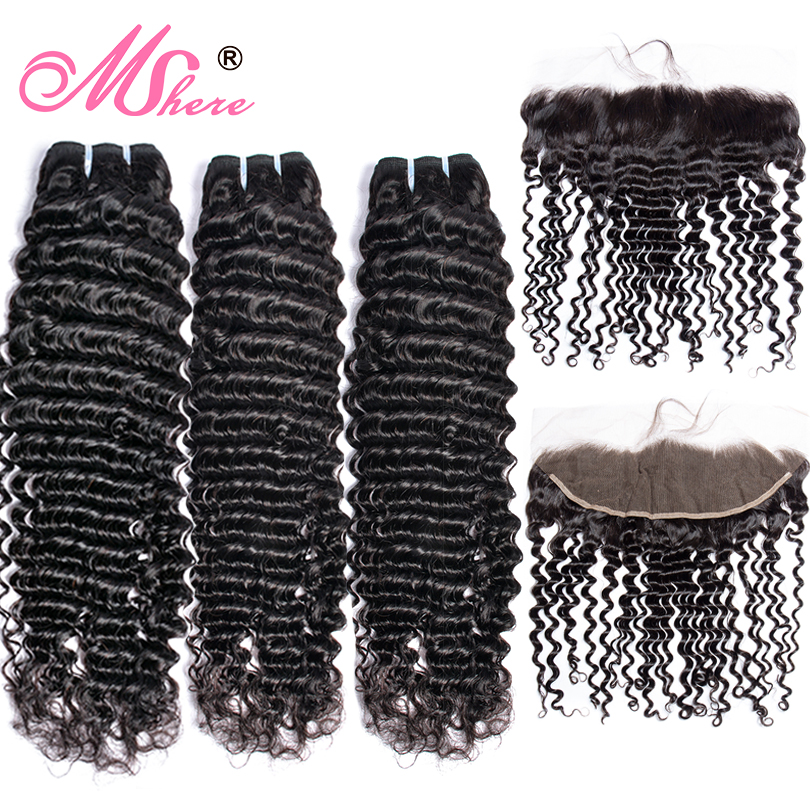 MsHere Hair 3 Bundles With 13x4 Lace Frontal Closure Peruvian Deep Curly Wave Bundle With Frontal Non Remy Human Hair Extensions