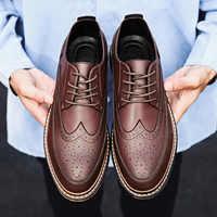 Zapatos de fiesta de otoño para hombre, Calzado cómodo, Brogue, de diseñador, zapatos de vestir de oficina, de cuero, informal, negro, 2020