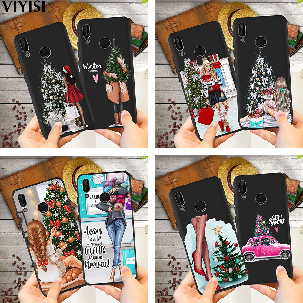 <font><b>Sexy</b></font> <font><b>Girl</b></font> Christmas Tree Phone <font><b>Case</b></font> For Huawei p20 lite P30 Pro Mate 20 Lite <font><b>Honor</b></font> 8X <font><b>9</b></font> 10 20i V20 P Smart Etui Coque Silicone image