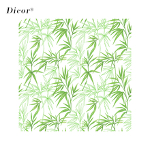 DICOR Green Leaves Stained Glass Stickers Fresh Comfortable High Quality Frosted Window Decorative Films BLT2135