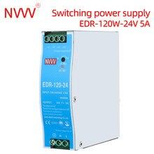 NVVV EDR-75W 120W DIN Rail Type Power Supply Transformer ultra-thin AC110V/220V to 24V 5A 12V 10A DC Source Power Single Output