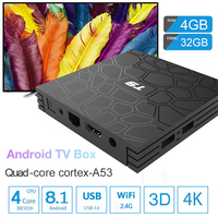 iLEPO T9 Android 8.1 TV Box RK3328 Quad core 4GB 32G/64G 2.4GHz Wifi 1000M LAN 4K HDR H.265/H.264 Smart Streaming Media Player
