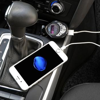 Nadajnik FM bezprzewodowy zestaw głośnomówiący samochodowy Audio bezprzewodowy zestaw głośnomówiący zestaw Bluetooth 2 1A podwójny szybka ładowarka USB akcesoria samochodowe tanie i dobre opinie TiOODRE CN (pochodzenie) Wireless FM Transmitter Modulator DC 12-24V Nadajniki fm 12 v car MP3 wireless FM transmitter 14*4 6*3 3cm 5 5*1 8*1 3
