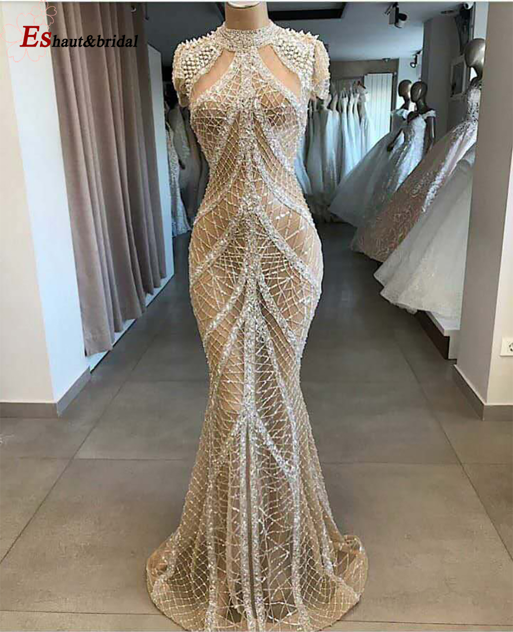 Champagne Dubai High Neck Sexy Evening Dress 2020 Mermaid Beads Handmade Short Sleeves Luxury Arabic Formal Gowns Design