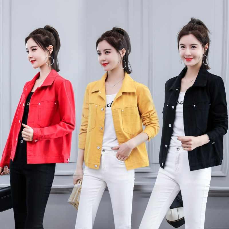 9fb0ae0fb 2019 Autumn Women Harajuku Denim Jacket Pockets Female Loose Basic Coat  Vintage Casual Red Black Yellow Jeans Jackets