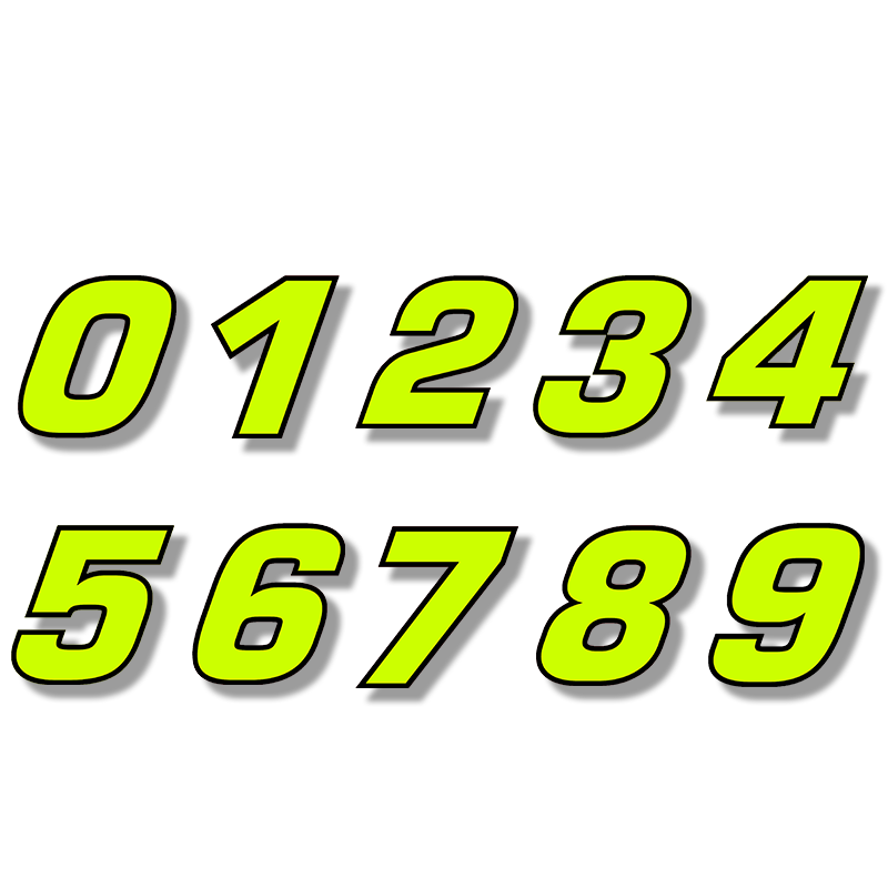 Three Ratels FTC-717B# Vinyl Die Cut Double-layer Number Neon Fluorescent Sticker For Car Motor Bike Truck Laptop Helmet
