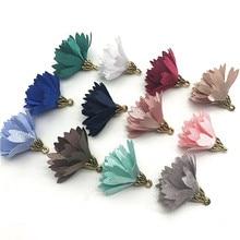 100pcs/bulk Vintage Cloth Flower Tassels Charms for Jewelry Making Earrimgs Pompoms  Pendants