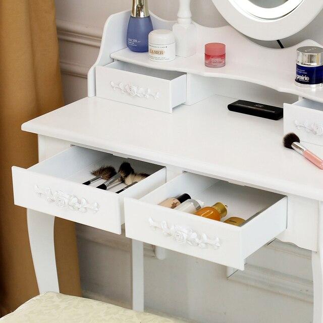 Vanity 4 Drawer Dresser White w/ Mirror 3