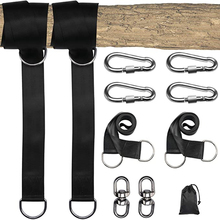 Tree Hanging Swing Attachment Polyester Fiber Strap with 4 Snap Hooks & 2 Spin Buckles for Tree Swing Hammock Swing Strap Kit