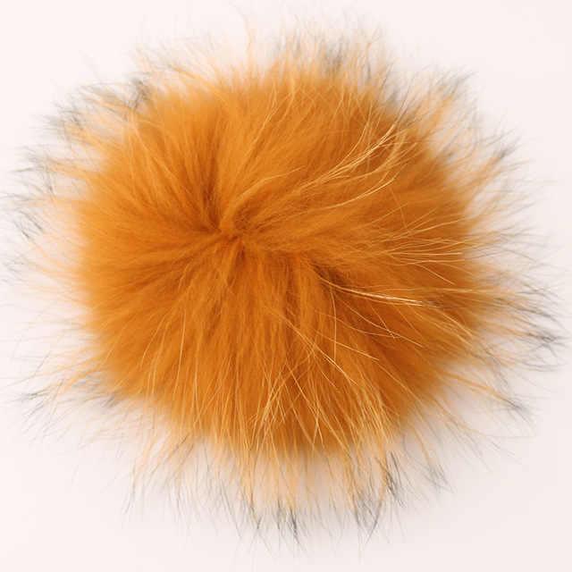 Dankeyisi Besar Real Fox Fur Pom Pom Bola Bulu Bulu Pom Pom Sebagai untuk Topi Natural Raccoon Bulu Pompon untuk Syal sarung Tangan 14-15 Cm