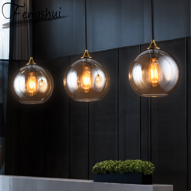 Nordic Iron glass Pendant Lights Lighting LED Light Fixture Pendent Lamp Dining Living Room Bedroom Kitchen Cafe Hanging Lamp
