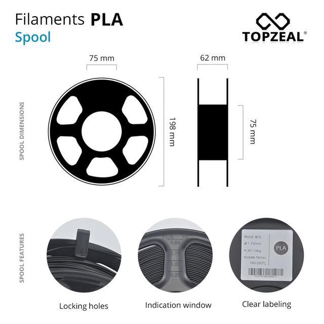 TOPZEAL 3D Printer PLA Filament 1.75mm Filament Dimensional Accuracy +/-0.02mm 1KG 343M 2.2LBS 3D Printing Material for RepRap 3
