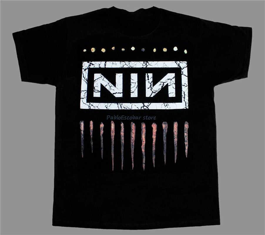 Nine Inch Nails Nin Logo Rock S-Xxl manga corta-larga nueva camiseta negra ropa deportiva camiseta