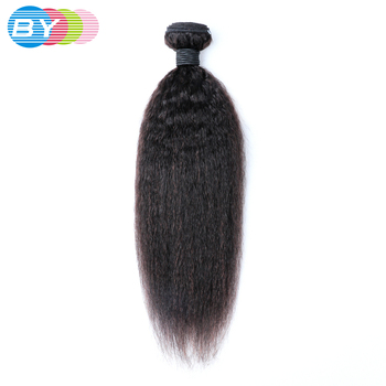 1/3/4 BY Hair Peruvian Kinky Straight Hair Weave Bundles Remy Human Hair Bundles Yaki Human Hair Extension Natural Black Color image
