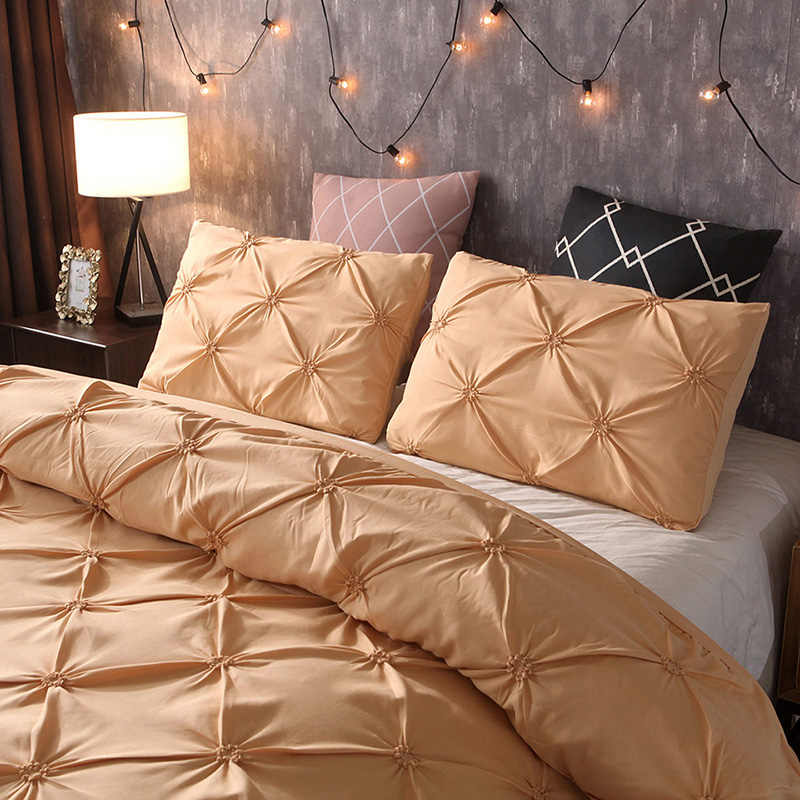 Simple Solid Color Bedding Set Black Duvet Cover Sets White King Queen Size Gold Quilt Gray Comforter Covers 3Pcs 260x230