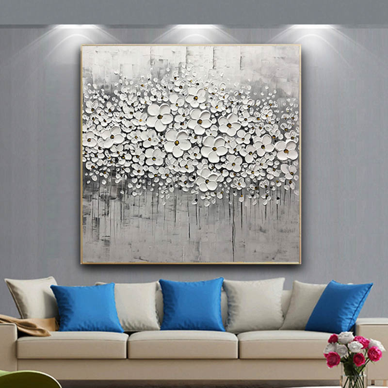 100 Handmade Silver Flower Abstract Canvas Painting Wall Art Picture For Living Room Home Decor Original Acrylic Texture Painting Calligraphy Aliexpress