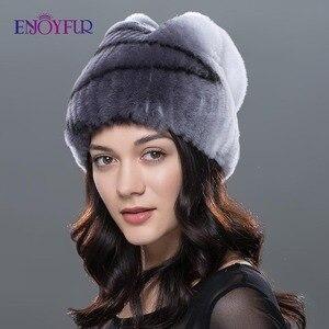 Image 2 - Sombrero de piel de Invierno para mujer, gorro de piel de conejo rex natural, diseño de lazo, gorros de moda, sombreros de piel de invierno rusos