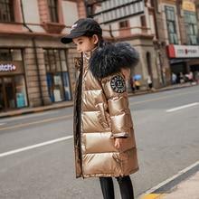 Зимняя куртка-пуховик на температуру до-30 градусов Одежда для девочек детская одежда верхняя одежда для мальчиков, пальто, парка водонепроницаемый Зимний комбинезон с натуральным мехом