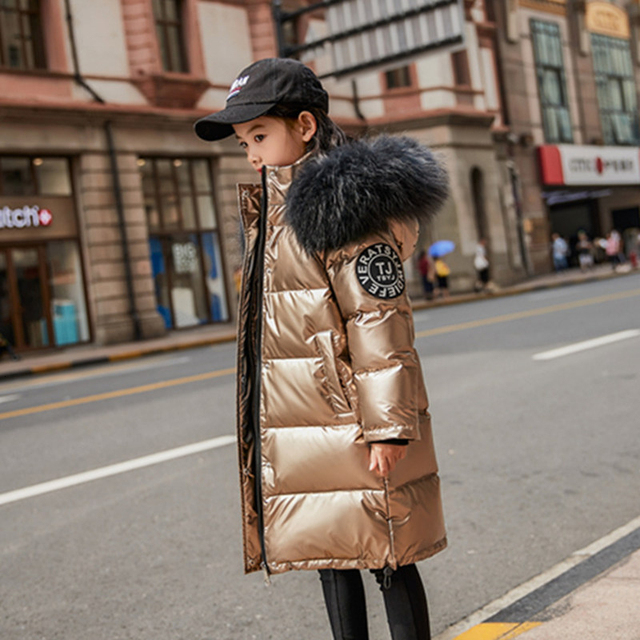 30 degrees winter down jacket girls clothes 2020 Children Clothing kids boys outerwear coats parka real fur waterproof snowsuit