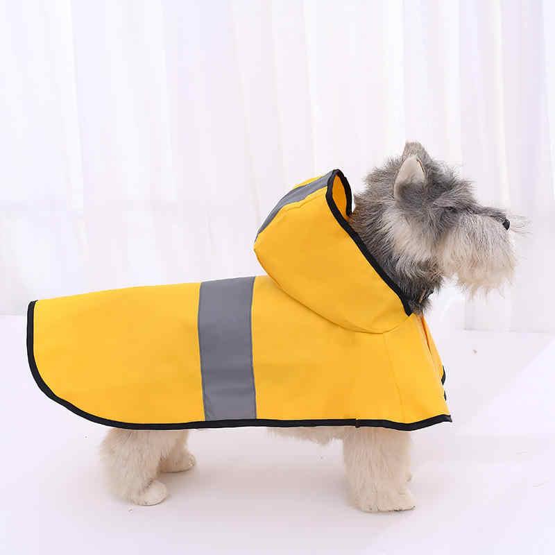 Ruiuzi Moda Reflectante Rayas Amarillo Impermeable para Mascotas d/ías lluviosos Slicker Impermeable Ropa Cachorro Lluvia Poncho Capucha para S M L Enorme Perros Gatos