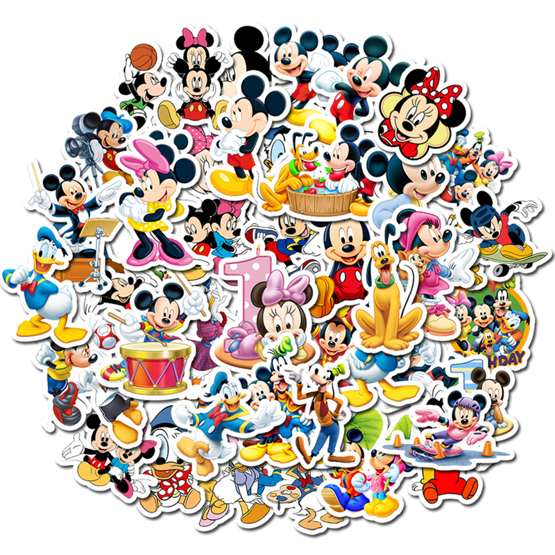 50 Pcs Disney Minnie Mickey Unduplicated Mickey Mouse Kids Stickers Suitcase Guitar Character Doodle Stickers