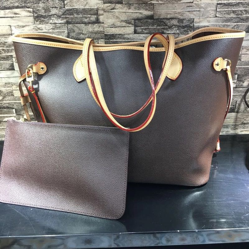 Excellent Quality Neverful Bag Women Shopping Bag Luxury Brand Monogrom Never Shoulder Bag Canvas Leather Full Handbags MMGM