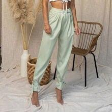Мода jogger брюки для Для женщин Высокая Талия Бумага сумка