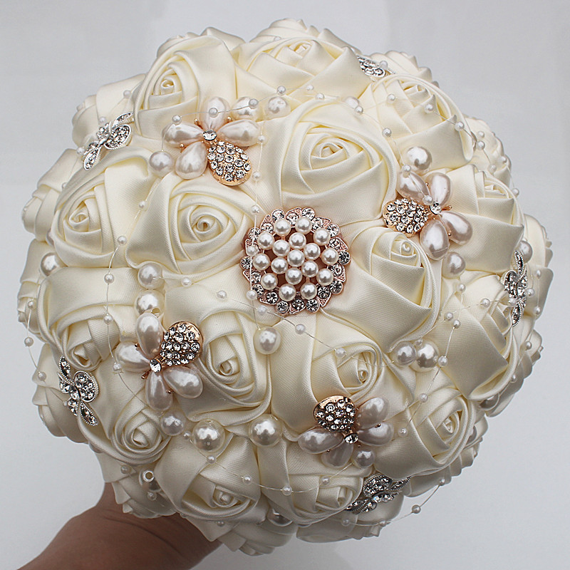 WifeLai-A 6 Styles Ribbon Rose Wedding Bouquet Handmade Rhinestone Holding Flowers Bridal Bridesmaid Bouquet Pearl Buque Noiva