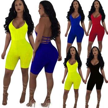 2020 Hot Women Sexy Sleeveless Strap V-neck Stretch Jumpsuit Romper Biker Shorts Bodysuit Leotard Backless Hollow Out Bodysuit hollow out choker bodysuit