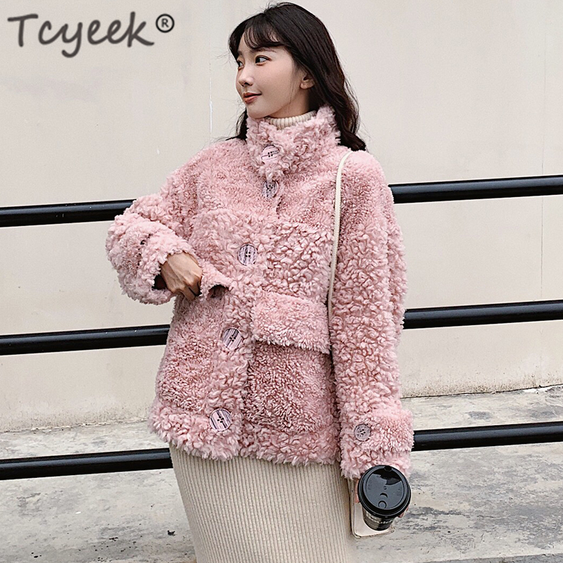tcyeek 100% Sheep Shearling Real Fur Coat Winter Jacket Women Wool Coats and Jackets Women Clothes 2019 Korean Long Jacket W2135