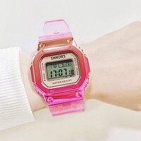 Różowe złoto kobiet cyfrowy zegarek wielofunkcyjny wodoodporny kobiet zegarki Gradient Unisex zegarek męski prostokąt dzieci zegarki sportowe w Zegarki damskie od Zegarki na