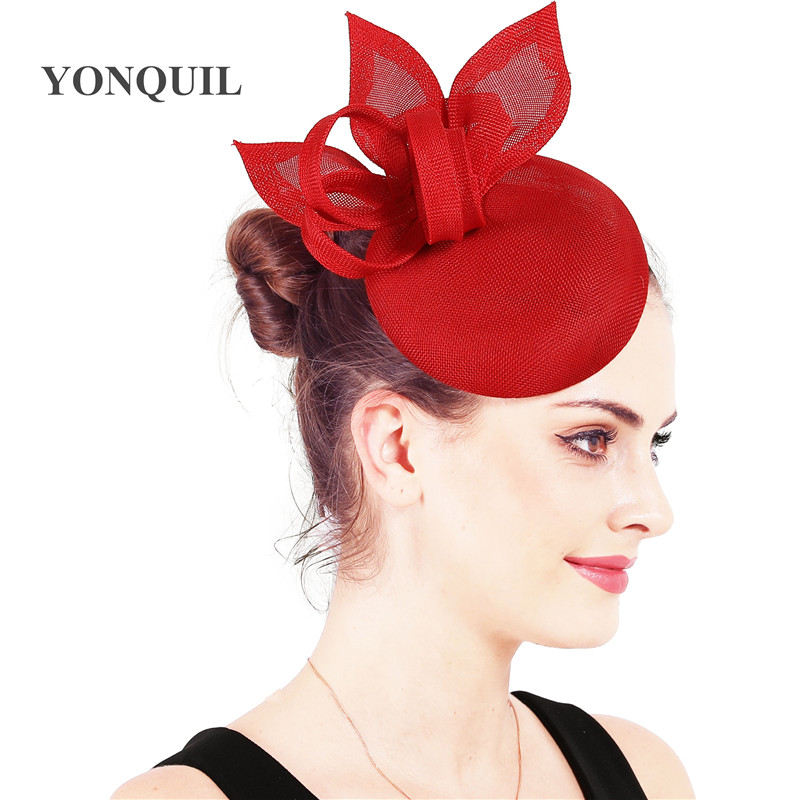 Bridal wedding chic hair fascinator hat Imitation sinamay party millinery with hair clips pins lady church accessories SYF124