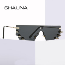 SHAUNA Unique Rivets Rimless Sunglasses Fashion Men Punk Sha