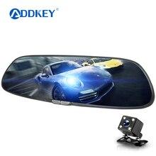 ADDKEY Full HD 1080P автомобильная камера 7 дюймов ips Автомобильный видеорегистратор с сенсорным экраном двойной объектив зеркало заднего вида видео регистратор видеорегистратор авто камера