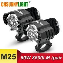 CNSUNNYLIGHT LED Motorcycle Headlight 50W 8500Lm/2pcs White Moto Spotlight Fog DRLs Bike Headlamp Work Driving Lights Waterproof