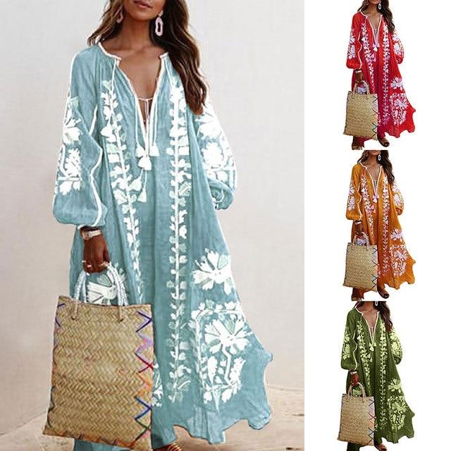 Loose Fit Long Sleeve Flower Dress Tassel V Neck Beach Sundress Fashion Lace-up Tassel Casual Long Dress Women Autumn Dresses 1