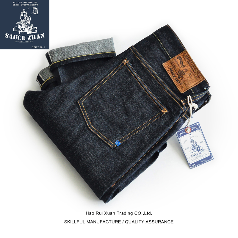 SauceZhan 310XX-JP Japan Okayama Fabric Selvedge Jeans Raw Denim Jeans Unwashed Blue Jeans Japan Men Jeans Slim Fit Jeans