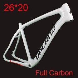 2019 Nova 26*20 MTB de Carbono Quadro de Bicicleta De Montanha Cheia de Carbono Bicicleta Conjunto de Quadros com Moldura Gancho para o Disco freio