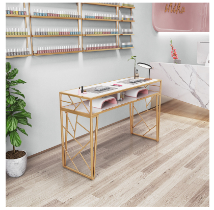New Nordic Nail Table And Chair Set Single Double Special Economy Iron Iron Net Red Gold Nail Art