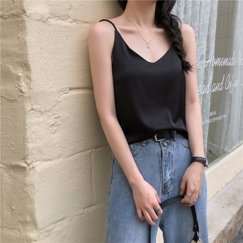 Hsa Women Summer Camisoles Strap Tops Black Khaki Solid Silk Sexy Tank Tops  One-piece Female Camisoles Underwear Loose Out Cami