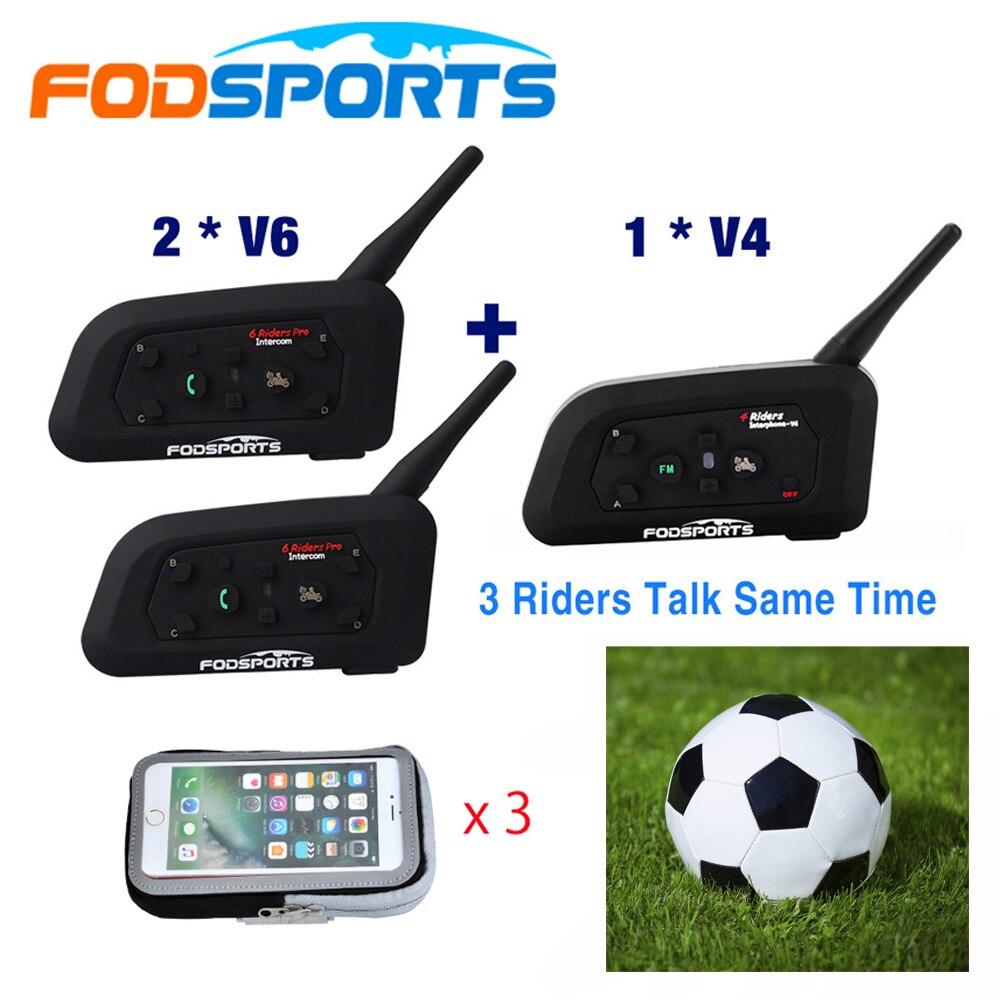 Fodsports 1*V4+2*V6 1200M Intercom For 3 Football Referees Headset Judger Arbitration 3 Referees Wireless Headset