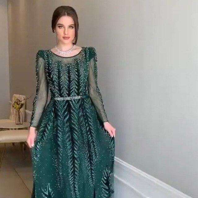 YQLNNE Dubai Green Long Evening Dress Full Sleeves Evening Gown 2019 Velvet Beading O-Neck
